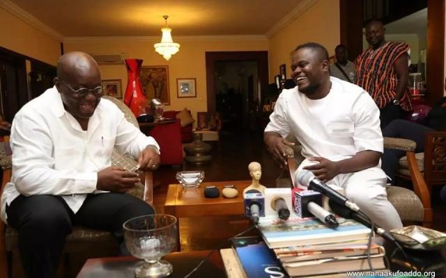Ghanaian Gospel Musician Cwesi Oteng (Right) with President Akufo-Addo (Left