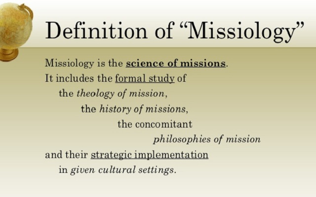 Missiology is the area of practical theology that investigates the mandate, message, and mission of the Christian church, especially the nature of missionary work.
