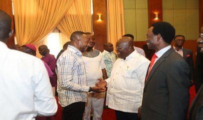 From right: Senior Minister, Rev Clement Anchebah, Apostle Professor Opoku Onyinah, President Akufo-Addo, Rev. Isaac Owusu Bempah etc.
