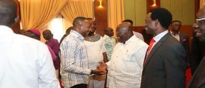 From right: Senior Minister, Rev Clement Anchebah, Apostle Professor Opoku Onyinah, President Akufo-Addo, Rev. Isaac Owusu Bempah etc.