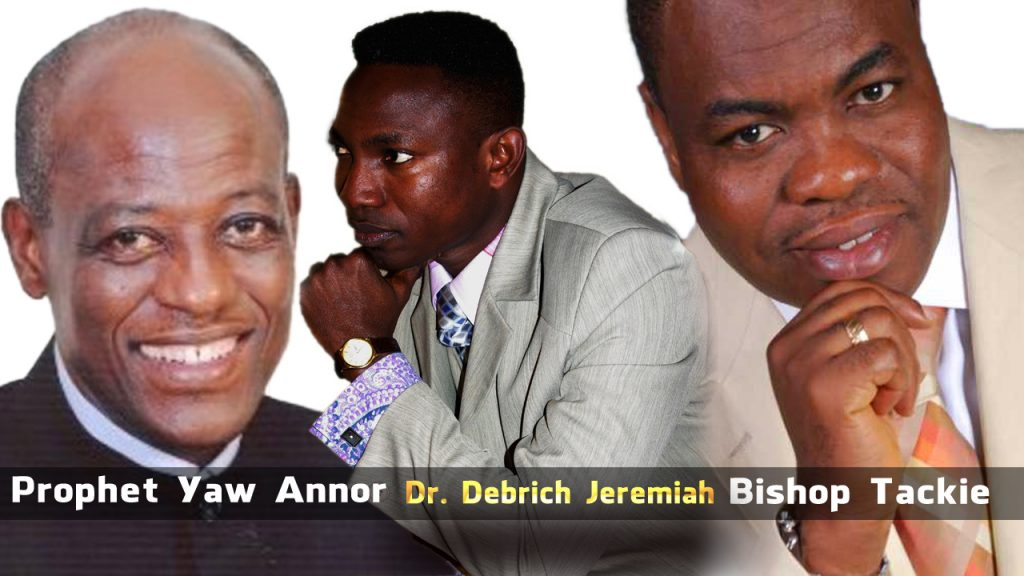 Prophet Yaw Annor of ICGC (Left), Dr. Debrich Jeremiah Acheampong of OFM (Middle) and Bishop Tackie-Yarboi of Victory Bible Church Int. (Right)