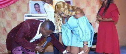 Zambian prophet' removing a lady's underwear in church
