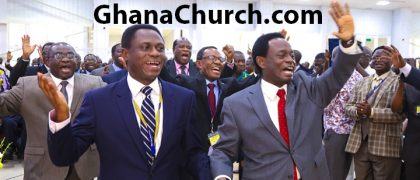 Apostle Eric Kwabena Nyamekye (Left) is succeeding Apostle Prof. Opoku Onyinah (Right)