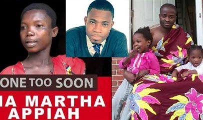 Late Ama Appiah Martha, Adom FM's Kofi Adomah and Evangelist Emmanuel Kwame Addai with his kids