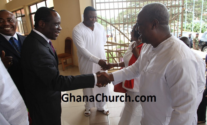 Bishop James K. Saah welcoming Former President Of Ghana H.E. John Mahama And Mrs. Mahama to the Action Chapel