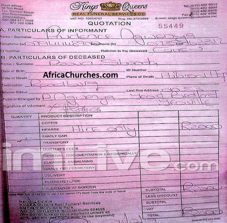 Kings & Queens - Real Funeral Services CC Receipt